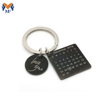 Metal calendar engraved keychain for girlfriend