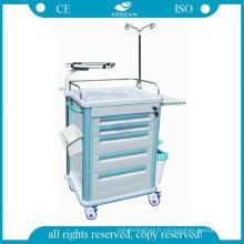 Chariot médical d'anesthésie en acier à haute densité d'ABS de transport médical
