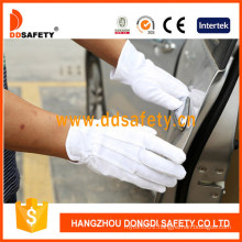 100% Bleach Cotton Gloves with PVC Dots on Palm 3 Seams on Back Shirred Elastic Back Ce 1010