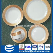 Высокое качество королевского золота дизайн 20 шт Ронд керамический набор посуды фарфора посуда