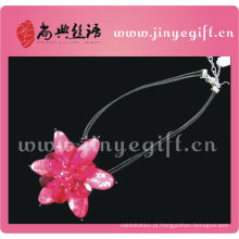 Shangdian Rose Red Flower Peridot Pendant Necklace