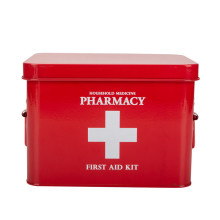 Red Tin Medicine Container