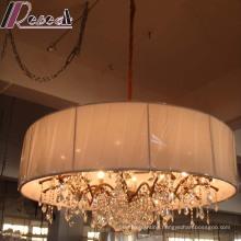 European Hotel Decorative Crystal Pendant Lamp with Fabric Shade