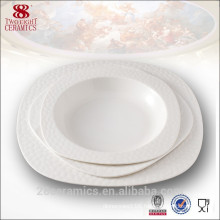 Fashion design white square plate, ceramic tableware for hotel