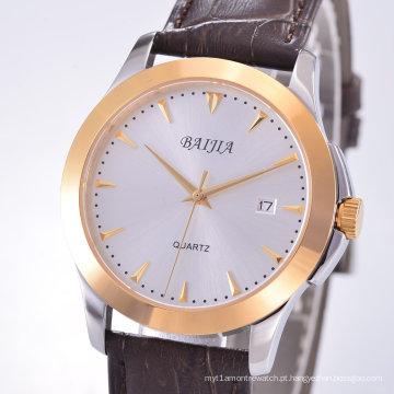 Relógio automático redondo de aço inoxidável unisex com faixa de couro
