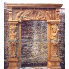 Marco de puerta de mármol de piedra de la puerta para el sonido envolvente de puerta (DR038)