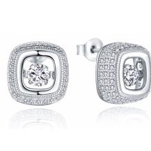 Pendiente de plata del diamante del baile del perno prisionero 925 con la joyería de la CZ