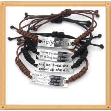 Подгонянные регулируемые выгравированные веревочки воска веревочки Handmade сплетенные браслетами