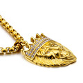 Punk Iced Out Gold Gold Lion Head Necklace