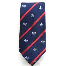 Seda personalizada con el lazo hecho a mano de la escuela de los hombres del telar jacquar hecho a mano del logotipo