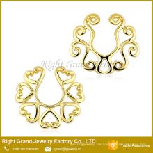 Kundengebundene überzogene Zink-Legierungs-Nippel-Piercing-Ring der Größen-18k Gold