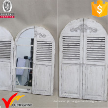 Estilo vintage Ecorative Arched Obturador Janela Espelho De Madeira
