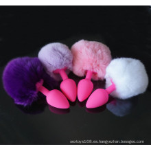 Rabbit Tails Anal Plug Silicone Butt Sex Toys para mujeres
