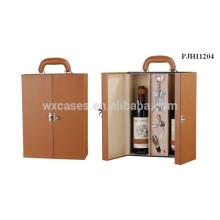 caso de couro vinho de alta qualidade para 2 garrafas de fabricante profissional