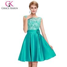 Grace Karin V-Back Noche Formatura Lace Green Formal Short Prom Dress Abito Da Sera Formale Vestidos CL6116-1#