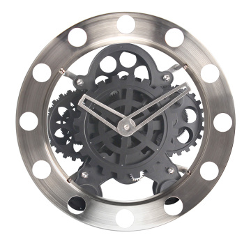 Runde Silber Big Black Gear Clock
