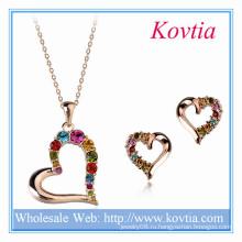 Новые ювелирные изделия формы сердца сердца диаманта прибытия Italina цветастые кристаллические установленные для венчания