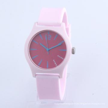 Relojes al por mayor para el reloj del silicón de la caja plástica del movimiento de Japón de los niños