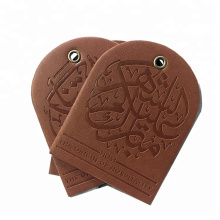 custom stamp private name logo PU genuine embossed leather patch label tag