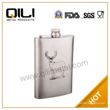 stainless steel whisky hip flask with silk screen printing