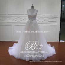 Mais novo design de vestidos de moda de ver através de vestido de noiva de sereia com cor champanhe leve