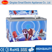 255Л коммерческих грудь глубокая дисплей холодильник и морозильник