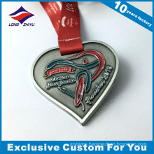 Heart Shape Nickle Plated Race Medal