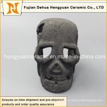Factory Manufacture Wholesale Decor Art Gift Ceramic Black Halloween Decoration Skull