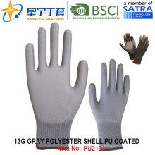 13G полиэфирные оболочки PU с покрытием перчатки (PU2101) с CE, En388, En420, рабочие перчатки