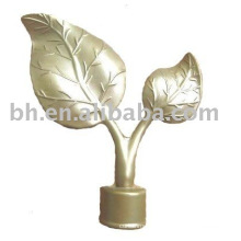 Hot Sale Gold Paint Aluminum Alloy Two-Leaf Curtain Rod Metal Pipe End Caps For Home Window Blind