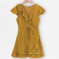 Высококачественное кружевное платье с короткими рукавами и принтом в горошек