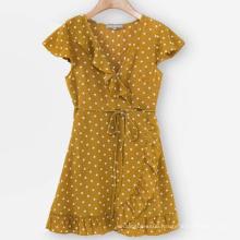 High Quality Dot Print Short Sleeve Lace Dress