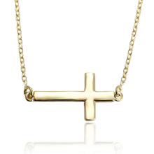 43655 Xuping copper fashion jewelry simple style 14k golg cross necklace