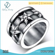 Silver gothic flower engraved ring,stainless steel punk rock jewellery