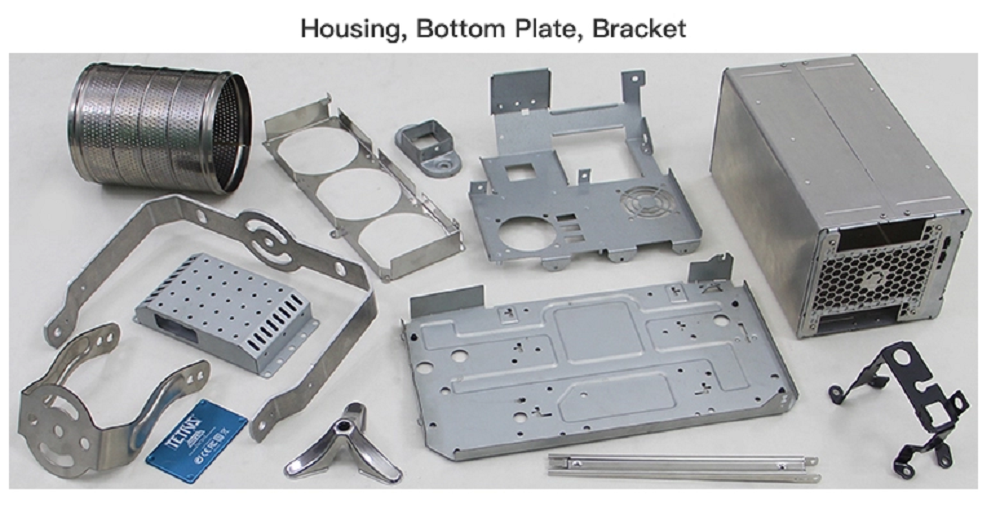 Housing plate and bracket metal parts
