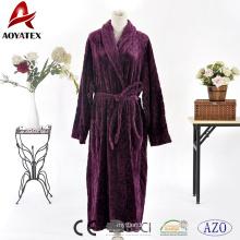 Hot selling fast dry microfiber wine red flannel fleece long bathrobe