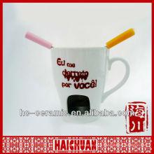 Chocolate ceramic fondue mug, chocolate fondue warmer