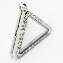 316L aço inoxidável triângulo vidro aço inoxidável Locket pingente