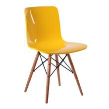 Base en bois de chaise de salle à manger en plastique de salon populaire