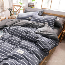 Wholesale Apartment 4 PCS King Bed Fashion Style Cotton Fabric Bedding Set Navy Striped