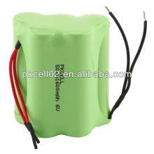 6 V AA 1600 mah Nimh bateria recarregável para brinquedos, iluminação LED