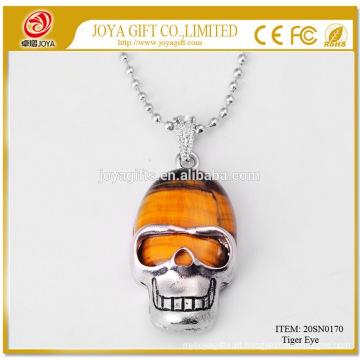 Preço baixo Men Tiger olho colar de pingente de crânio 20SN0170 com corrente de prata 60CM Jóias de cristal de pedra semi preciosa