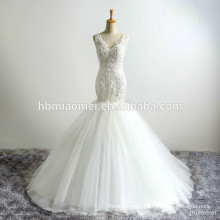 Princes Deep V Neck Sexy Slim-line Appliqued Sequins Backless Package Buttocks Tiered Puffy Chiffon Train Mermaid Wedding Dress