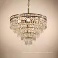 Loft lumière américaine rétro éclairage lampe fer cristal vintage pendentif lumière