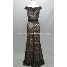 Black Simple Lace Evening Dress