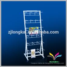 Boden Standing OEM Design Weiß Metall Handy Zubehör Display Rack mit hängenden Haken