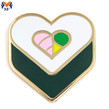 Pin modificado para requisitos particulares metal de la forma del corazón del sushi del logotipo