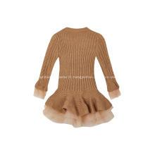 Robe en crêpe tricotée aux poignets et à l'ourlet pour fille