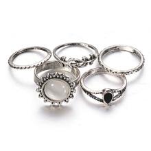 Estilo folclórico retro luxo Suite personalidade exagerada Opal Ring