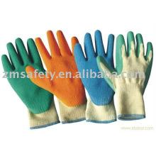 Handflächen Crinkle Latex beschichtete Handschuhe